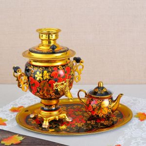 Набор «Хохлома», овал, 3 предмета, самовар 3 л, заварочный чайник 0,7 л, поднос 3542395