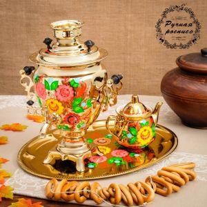 Набор «Цветы на золотом», жёлудь, 3 предмета, самовар 3 л, заварочный чайник 0,7 л, поднос 3542396
