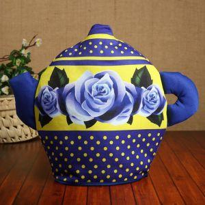 Грелка «Чайник», розы,  30х21,5см 4870249