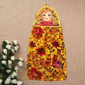 Полотенце «Матрёшка», матрёшки на жёлтом, сувенирное 3292745