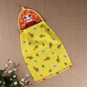 Полотенце «Матрёшка», хохлома на жёлтом, сувенирное 3292743