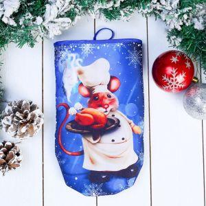 Прихватка - рукавица «Мышонок - повар», с курицей, 27?16,5 см, сувенирная 4565990