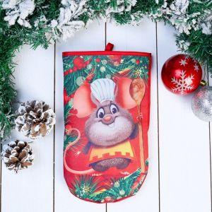 Прихватка - рукавица «Мышонок - повар», с ложкой, 27?16,5 см, сувенирная 4565989