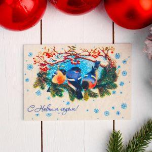 Открытка «С новым годом», снегири, 10,5?14,8 см, войлок 4479964