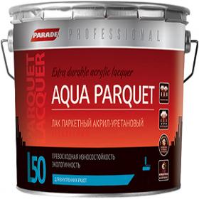 Лак Паркетный Parade Professional L50 Aqua Parquet 9л Полуматовый, Акрил-Уретановый, Бесцветный для Внутренних Работ / Парад L50