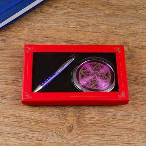 Набор подарочный 2в1 (ручка, зеркало) микс 734829