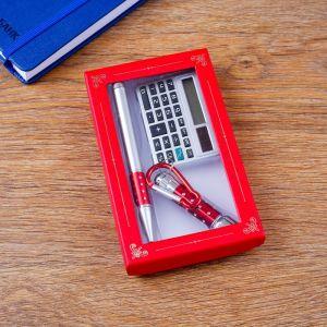 Набор подарочный 3в1 (ручка, калькулятор, фонарик красный) 4432367
