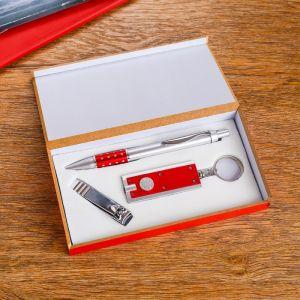Набор подарочный 3в1 (ручка, кусачки, фонарик красный) 476352