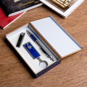 Набор подарочный 3в1 (ручка, кусачки, фонарик синий) 476350