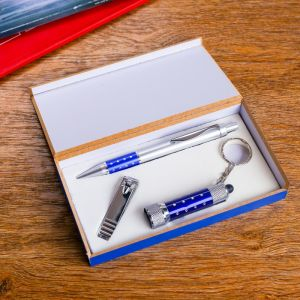Набор подарочный 3в1 (ручка, кусачки, фонарик синий) 476359