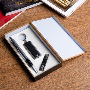 Набор подарочный 3в1 (ручка, кусачки, фонарик черный) 476351