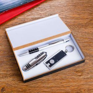 Набор подарочный 3в1 (ручка, нож 3в1, фонарик черный) 611241