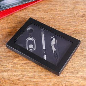 Набор подарочный 3в1 (ручка, открывалка-штопор, фонарик черный) 864968