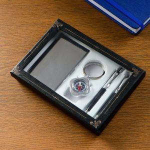 Набор подарочный 4в1 (2 ручки, визитница, компас) микс 555533