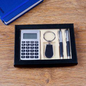 Набор подарочный 4в1 (2 ручки, калькулятор, брелок) 4429131