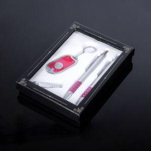 Набор подарочный 4в1 (2 ручки, кусачки, фонарик красный) микс 450951