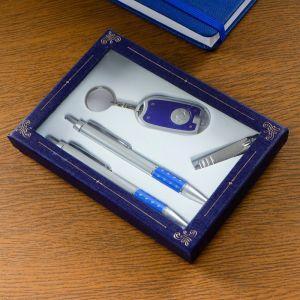Набор подарочный 4в1 (2 ручки, кусачки, фонарик синий) 594021