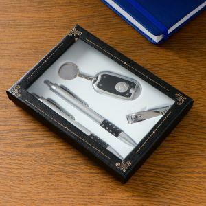 Набор подарочный 4в1 (2 ручки, кусачки, фонарик черный) 594022