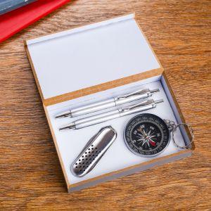 Набор подарочный 4в1 (2 ручки, нож 3в1, компас) 592574