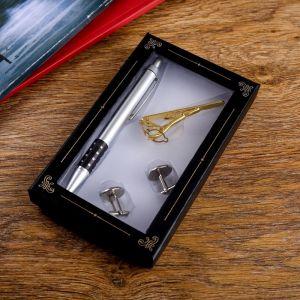 Набор подарочный 4в1 (ручка, заколка для галстука, 2 запонки) микс 555532