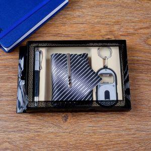 Набор подарочный 4в1 (ручка, открывалка, галстук с заколкой) 4429132