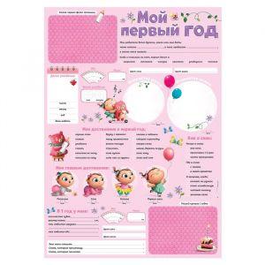 """Плакат для новорожденной с наклейками """"Мой первый год"""", розовый"""