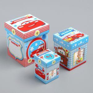 Памятные коробочки для новорожденных, Тачки, 3 шт, с местом под фото