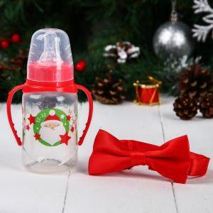 """Набор для малыша """"Дед Мороз"""": бутылочка для кормления 150 мл и бабочка на шею 5003889"""