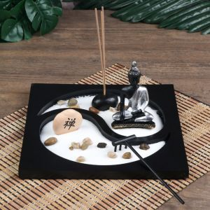"Сад Дзен ""Будда инь-ян"" песок белый + аромапалочка 11х22,5х22,5 см   4627463"