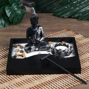 """Сад Дзен """"Будда просветление"""" песок белый + свеча 14х20х20 см   4627462"""