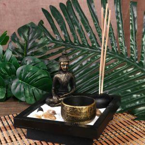 """Сад Дзен """"Будда"""" песок+камни+свеча+аромапалочка 12х12,5х12,5 см 476127"""