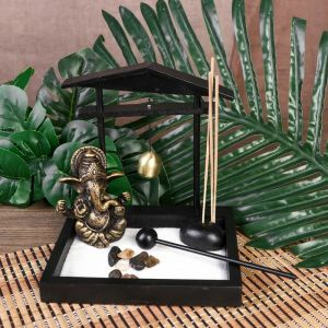 "Сад Дзен ""Ганеша у храма"" песок+камни+аромапалочка+колокол 15,5х13х15 см   4453265"
