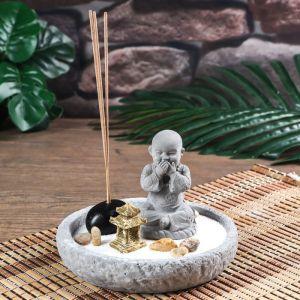 "Сад Дзен ""Маленький Будда - не скажу"" песок белый + аромапалочка 10,5х14,5х14,5 см   4627460"