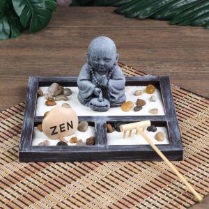 "Сад Дзен ""Маленький Будда в саду"" песок белый 9х19х19 см   4627459"