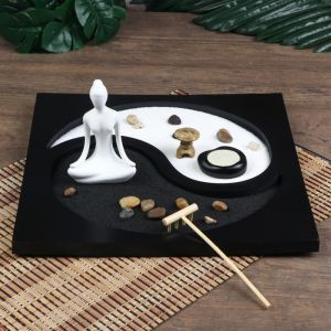 "Сад Дзен ""Медитация инь-ян"" песок белый и чёрный + свеча 11,5х29,5х29,5 см   4627465"