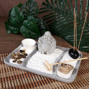 "Сад Дзен ""Хотей в саду"" серый, песок+камни+аромапалочка 8,5х22х16 см   4453267"