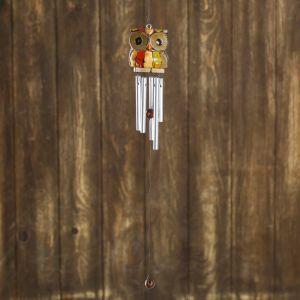 "Музыка ветра ""Сова в полоску"" дерево, металл 5х5х40 см   4165695"