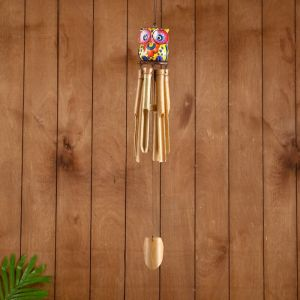 """Музыка ветра бамбук """"Разноцветная совушка"""" 7х7х30 см   3370644"""