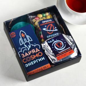 Набор «Космический»: чай 50 г, шоколад 85 г, арахис в глазури 100 г, маска для сна