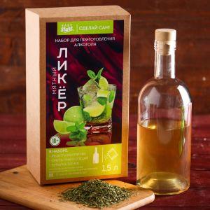 Набор для приготовления алкоголя «Мятный ликер»: набор трав, специи, бутылка 0.5 л