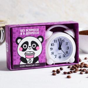 """Набор: кофе молотый 50 г, будильник """"Панда"""""""