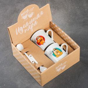 Набор «Чай или кофе»: кружка 180 мл 2 шт., ложка 2 шт. 4063756