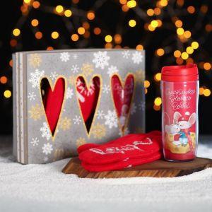 Термостакан и варежки «Счастливого Нового года», 350 мл, 10 ? 24 см