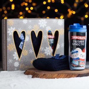 Термостакан и носки «Зимовать вместе теплее», 350 мл, 36-39 р-р