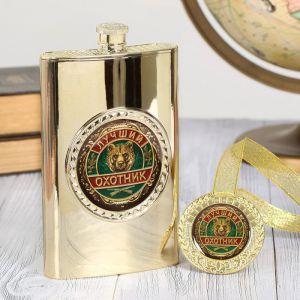 """Подарочный набор """"Лучший охотник"""", фляжка 300 мл, медаль   2948495"""