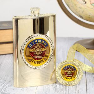 """Подарочный набор """"Лучший сотрудник ГИБДД"""", фляжка 300 мл, медаль 2948499"""