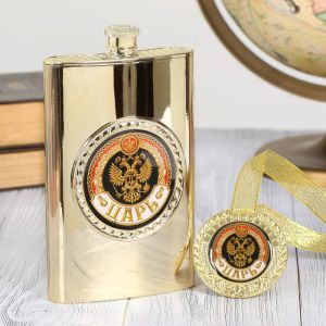 """Подарочный набор """"Царь"""", фляжка 300 мл, медаль   2948492"""
