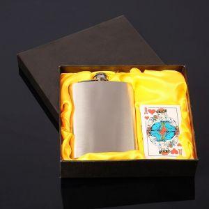 Подарочный набор 2 в 1: фляжка 240 мл хромированная, колода карт 3629295