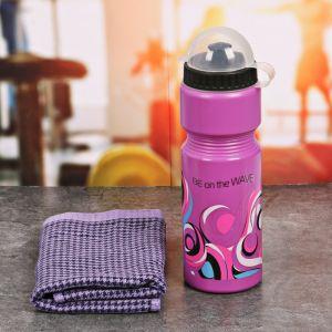 Набор «Be on the wave»: бутылка для воды 800 мл, полотенце, чехол 2588935