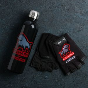 Набор для тренировок «Добивайся»: бутылка 600 мл, перчатки р-р ХL